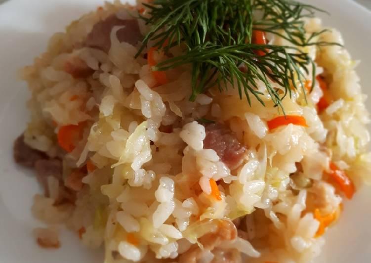 Бигус из свежей капусты с рисом
