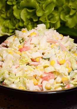 Крабовый салат с пекинской капустой за 7 минут