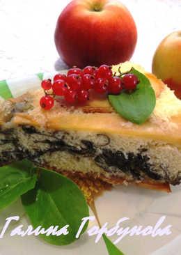Бисквитный пирог с яблоками и щавелем #кулинарный марафон
