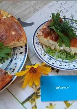 Заливной пирог с яйцом, курицей, зеленым луком