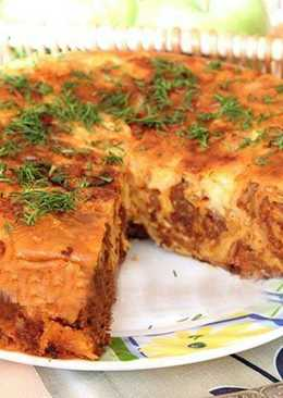 Пирог из тонкого лаваша с мясной начинкой в мультиварке