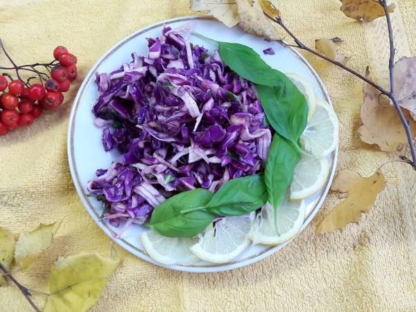 Фитнес-салат с фиолетовои капyстои, имбирем и сельдереем