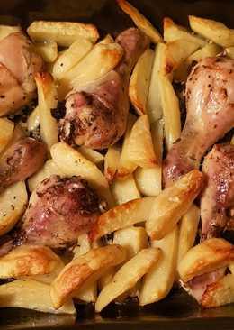 Запеченые куриные ножки с картофелем
