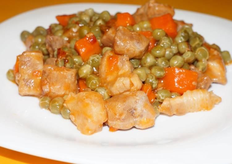 Зелёный горошек тушёный со свининой