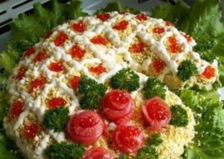 Салат с сёмгой «Новогодние огни»