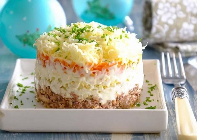Как правильно выложить салат мимоза рецепт