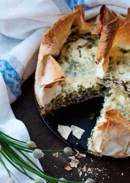 Пирог в лаваше с зеленым луком в йогуртовой заливке