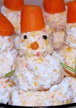 Закуска «Крабовые снеговики» с кукурузой