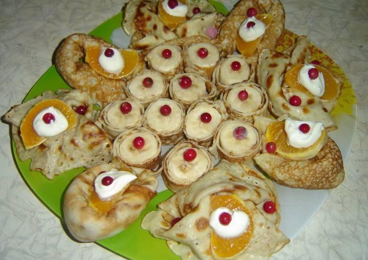 Тонкие блинчики с десертом