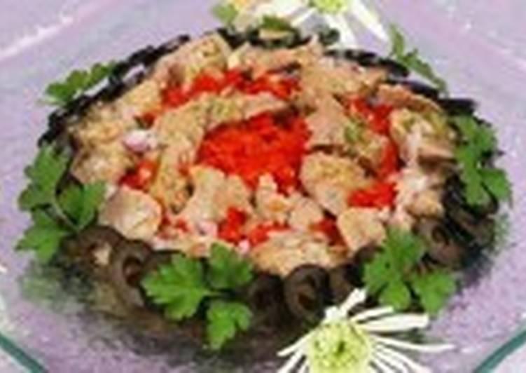 Салат с печенью трески и болгарским перцем