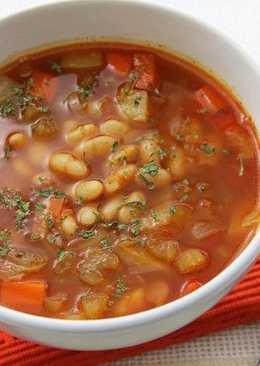 Суп фасолевый с болгарским акцентом