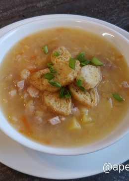 Гороховый суп с курицей и сухариками. #кулинарныймарафон