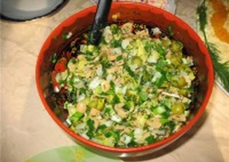 Салат картофельный с маринованными опятами