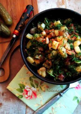 Жареная картошка со шкварками и укропом