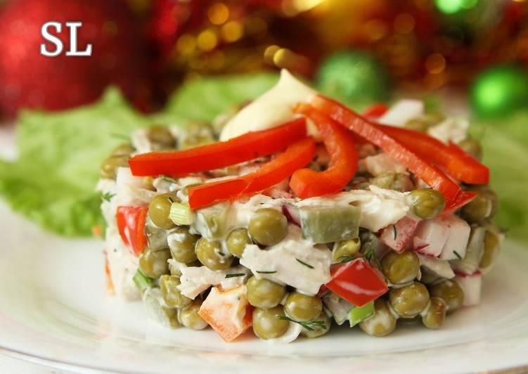 Салаты овощные на новогодний стол