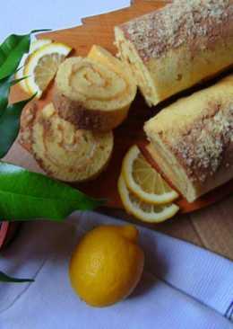 Лимонный рулет с заварным кремом и корицей