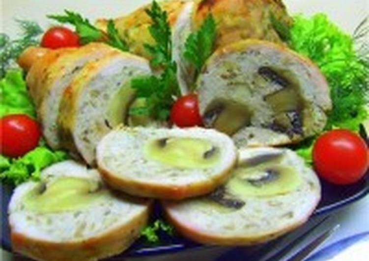 Закуска праздничная из куриных грудок, фаршированных грибами