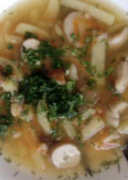 Суп с белыми грибами, перловкой и свежим укропом
