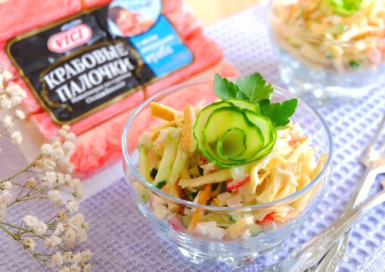 Салат с сыром-косичкой и крабовыми палочками