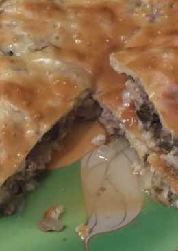 Заливной пирог с мясом,луком и грибами