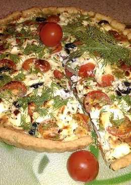 Открытый пирог - Киш с томатами, брынзой и базиликом