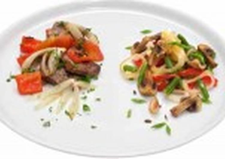 Овощи, жаренные с грибами