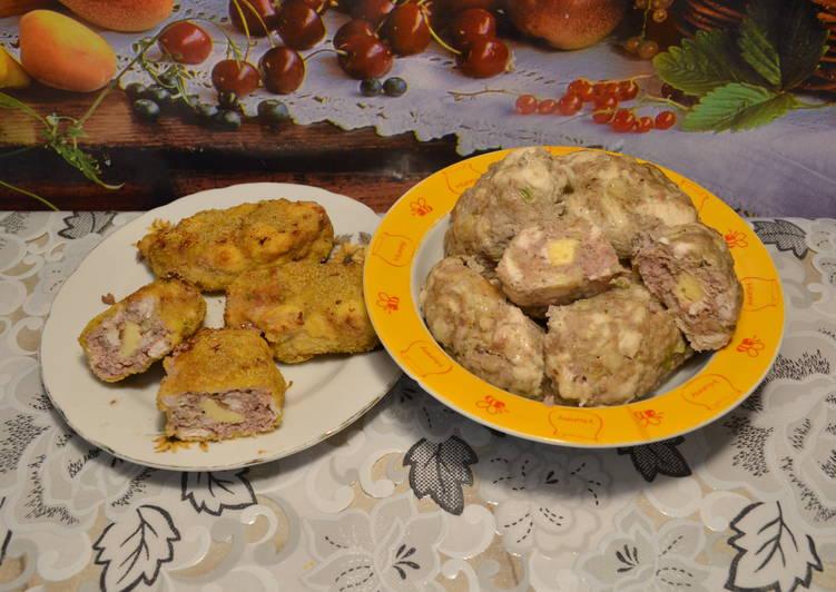 Котлеты из мясного фарша и курицы, с сырной начинкой