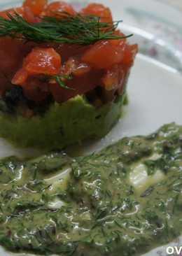 Дрессинг и тар-тар из лосося и авокадо