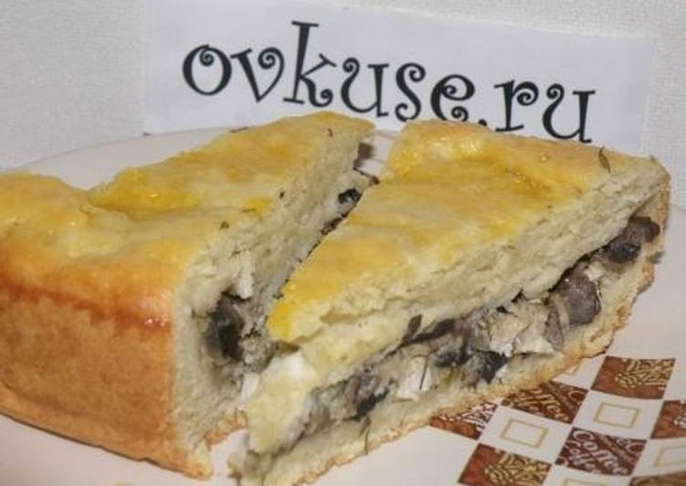 Пирог с курицей и грибами, рецепт приготовления с фото