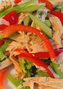Диетический салат с сельдереем и сухой спаржей