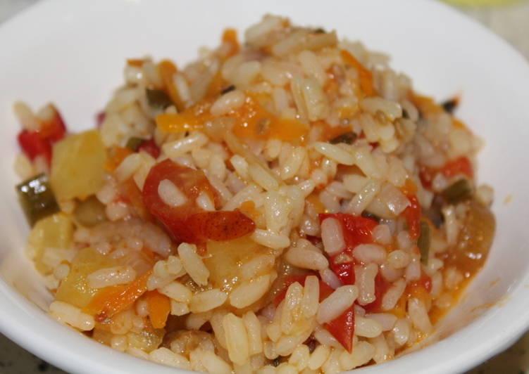 Рис с кабачками, помидорами и болгарским перцем