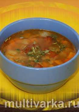 Гороховый суп с копчёными колбасками в мультиварке