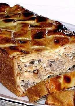 Вкуснейший блинный пирог с мясом и грибами