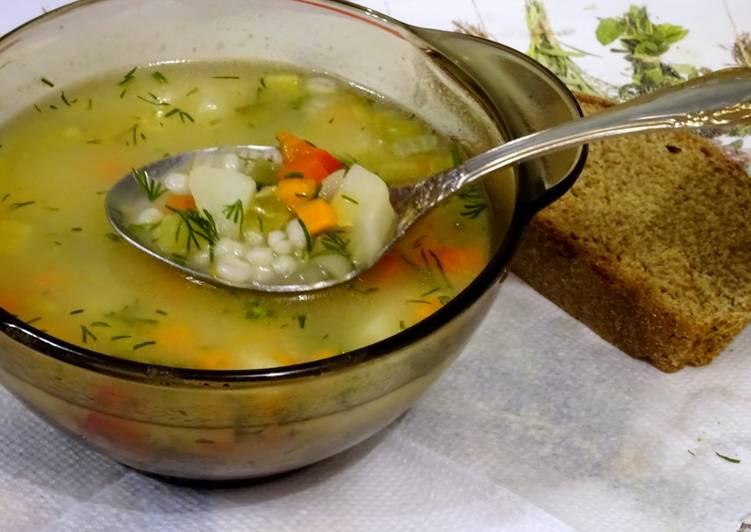 Рассольник постный суп 4
