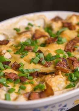 Очень вкусные вареники с картошкой запеченные под сыром в духовке