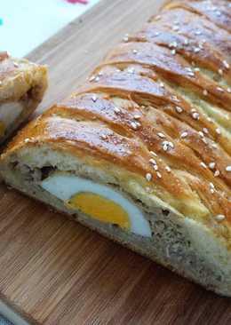 Пирог бездрожжевой с мясом и яйцом (тесто на кефире для пирогов)