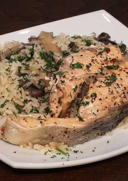 Рыба на пару и рис с грибами, полноценное постное второе блюдо