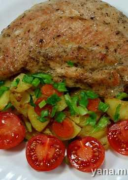 Тушёный картофель и фаршированная индейка в скороварке
