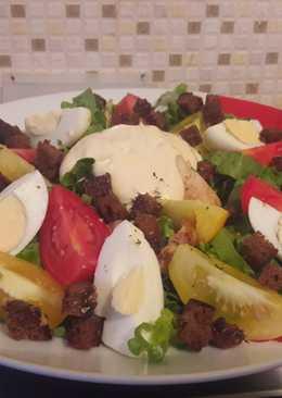 """Салат """"Цезарь"""" (домашний, очень вкусный, простой рецепт на двоих)"""