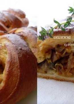 Кулебяка с капустой и грибами