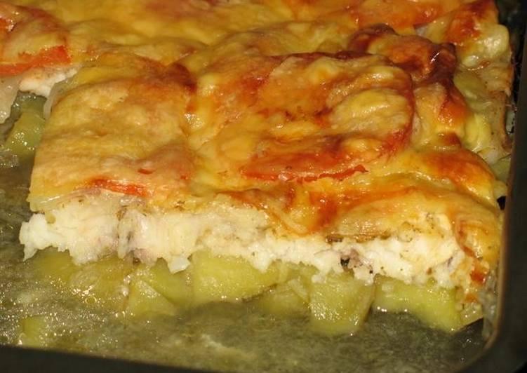 Морской язык с картошкой и помидорами