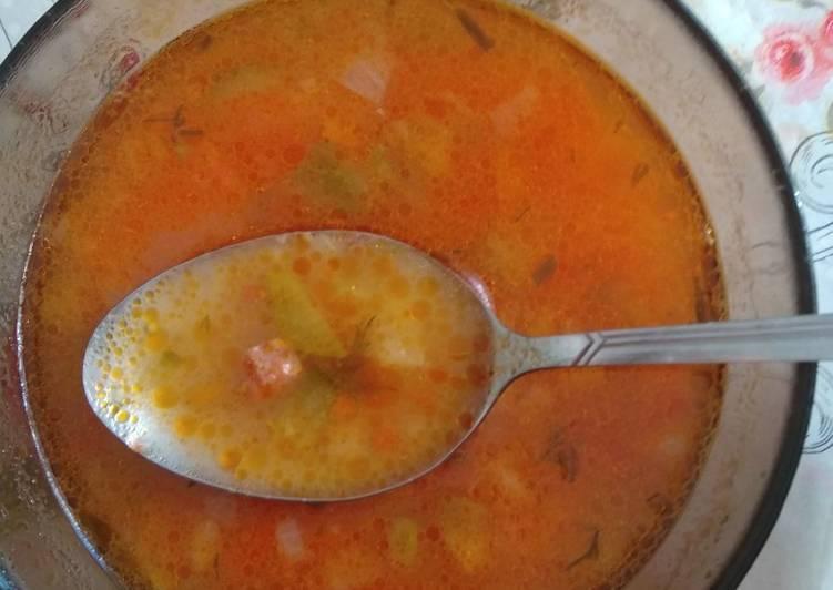 Рассольник рецепт с рисом на бульоне