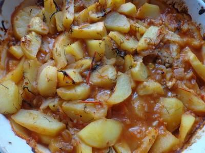 Картофель в томатном соусе по-египетски (без масла в пост)