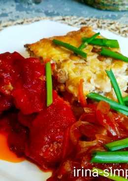 Рыба в томате с запеканкой из фасоли с шампиньонами