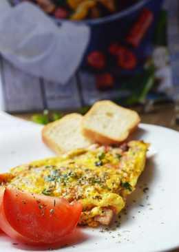 Омлет с помидорами м колбасой и сыром #чемпионатмира #россия