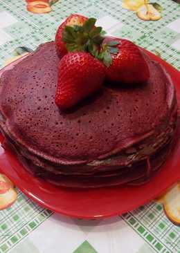 Красный блинный торт На Масленицу и 14 февраля