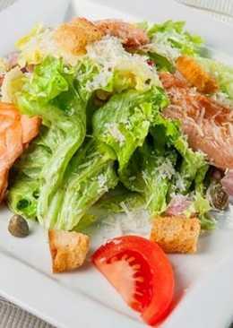 Цезарь с красной рыбой - рецепт