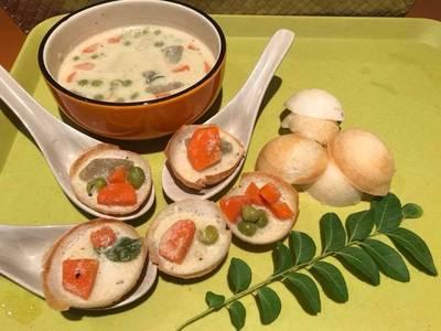 Tricolour vegetable stew n appam bites