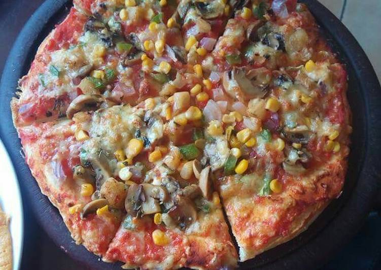 Recipe of Super Quick Homemade Fresh veggies and cheesy pizza#veganContest