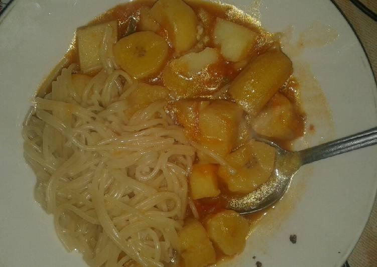 Simple Way to Make Favorite Matoke with spaghetti